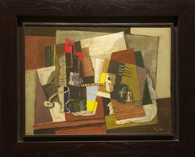 Henri Hayden, 'Nature morte à l'as de trèfle vert et pièces d'échec', 1919