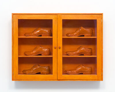 Gathie Falk, 'Single Right Men's Shoes: Bootcase with 6 Orange Brogues', 1973