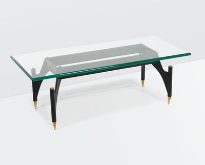 Max Ingrand, 'a 2013 low table with a lacquered brass and polished brass base', ca. 1960