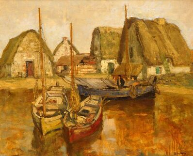 Richard Schreiber, 'Thatched cottages by fishing boats'