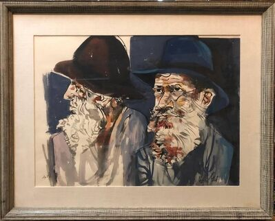 Moshe Gat, 'Large Watercolor Painting Israeli Modernist Judaica Two Rabbis', Mid-20th Century