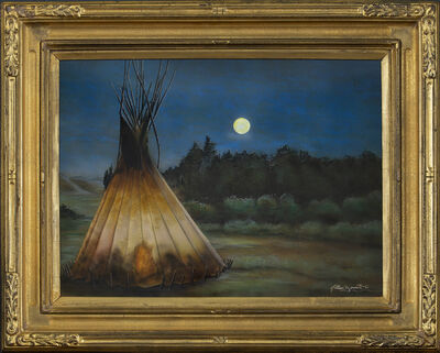 """Nathan Bennett, 'Night Lights (after Joseph Henry Sharp's painting titled """"Lone TeePee"""")', 2021"""