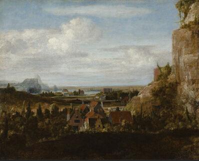 Hercules Segers, 'Houses near Steep Cliffs'