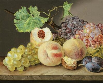 Franz Xaver Petter, 'Still life with peaches, grapes, plums and walnut', ca. 1825