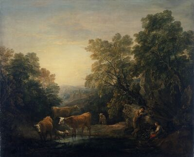 Thomas Gainsborough, 'Rocky Wooded Landscape with Rustic Lovers, Herdsman, and Cows', 1771-1774