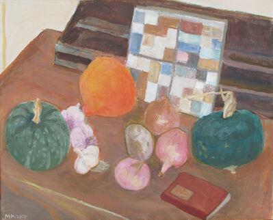 Marjorie Kramer, 'Garden vegetables with checkerboard trivet', 2020
