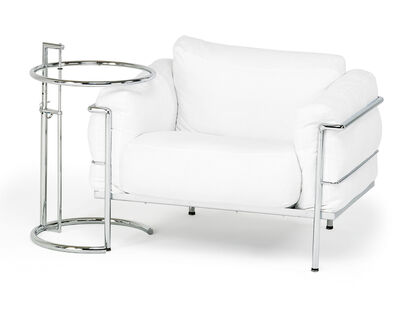 Style of Le Corbusier, 'Lounge chair and adjustable side table', latter half 20th c.
