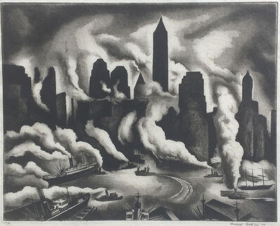 Howard Cook, 'Harbor Skyline', 1930