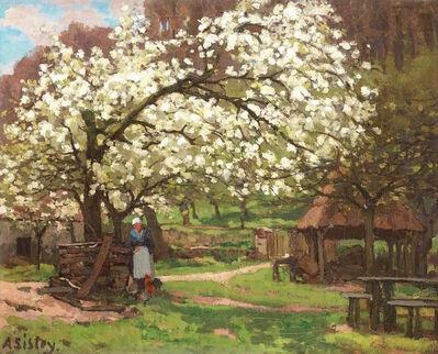 Alfred Sisley, 'Printemps, paysanne sous les arbres en fleurs', ca. 1865