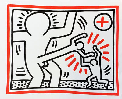 Keith Haring, 'Keith Haring 1985 announcement (Haring Cockfight)', 1985