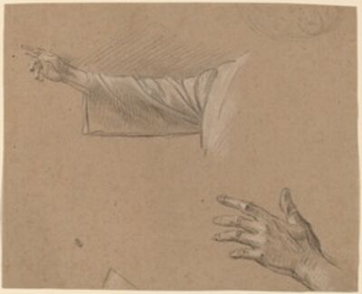 Benjamin West, 'Study of a Right Arm and a Left Hand'