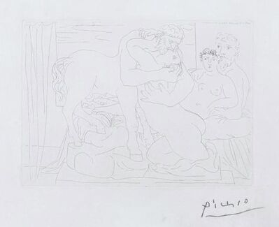 Pablo Picasso, 'Sculptor and model with stature of centaur kissing a girl ', 1933