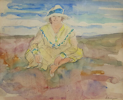 Henri Lebasque, 'Jeune fille assise sur la plage ', 1922