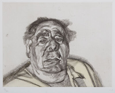 Lucian Freud, 'Lord Goodman in his Yellow Pyjamas', 1987