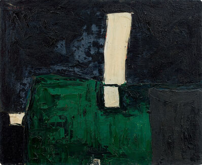 William Scott (1913-1989), 'Green, Black and White Abstract', 1953