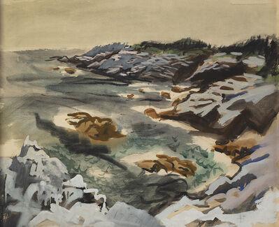Fairfield Porter, 'Harbor, Isle au Haut (on verso: Rocky Shore) '