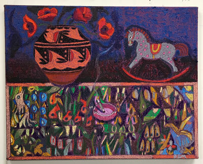 JJ Manford, 'Still Life with Native American Pottery, Poppies, & Flemish Mille Fleurs inspired Table Cloth', 2020