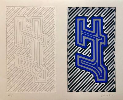 Chryssa Vardea-Mavromichali, '1970's Large Silkscreen Abstract Geometric Day Glo Serigraph Pop Art Print Neon', 1980-1989
