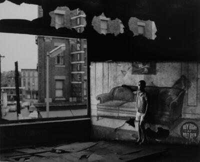 Arthur Tress, 'Boy in burnt furniture store', 1969