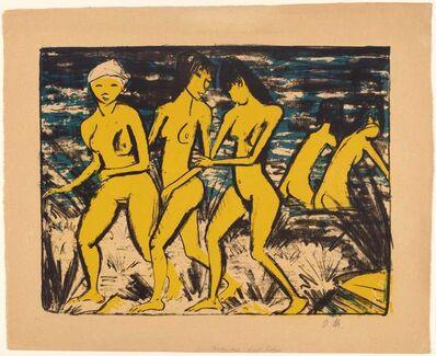 Otto Mueller, 'Fünf gelbe Akte am Wasser', 1921