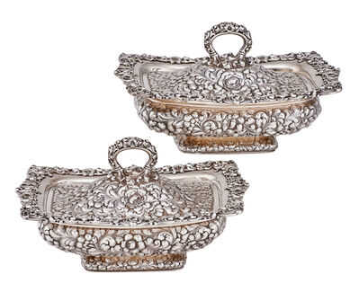 Dominick & Haff, 'Pair Of Dominick & Haff Sterling Silver Covered Vegetable Dishes', 1886