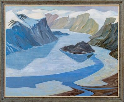 Doris McCarthy, 'Pangnirtung - Depiction of Arctic landscape in tones of blues and browns', 1973