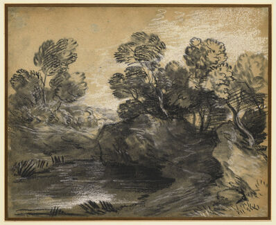 Thomas Gainsborough, 'Wooded Landscape with Rocks Overhanging a Pool', Mid-1780s