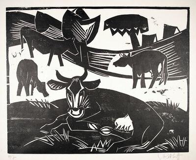 Karl Schmidt-Rottluff, 'Kuhweide (Cow pasture)', 1917