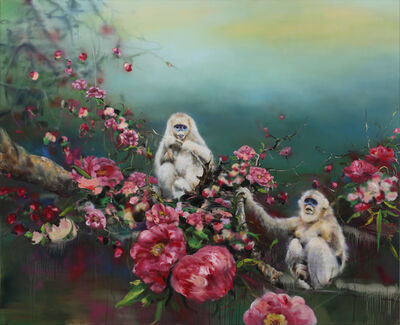 Li Tianbing, 'White monkeys with the flower sea', 2019