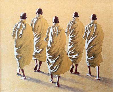 Min Wae Aung, 'Five Monks', ca. 2009
