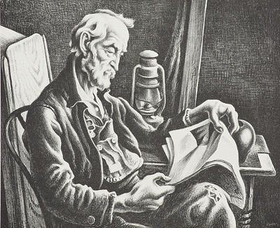 Thomas Hart Benton, 'Old Man Reading', 1939