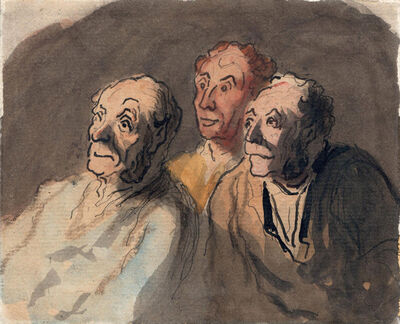 Honoré Daumier, 'Three Attentive Spectators', 1808-1879