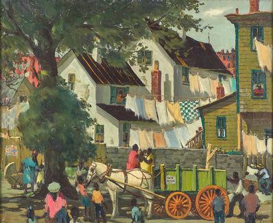 Henry Gasser, 'Newark Street Scene (The Green Wagon)'