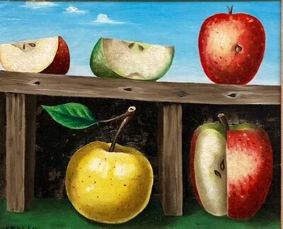 Lucien Mathelin, 'French Surrealist Trompe L'oeil Apples OIl Painting', 20th Century