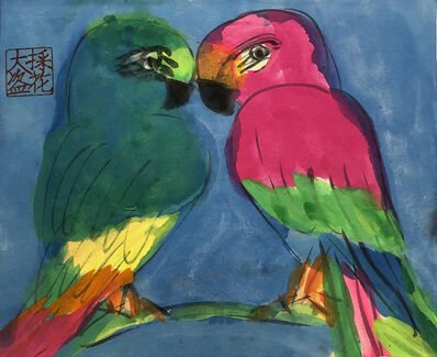 Walasse Ting 丁雄泉, 'Green and Red Love Birds', 1990s
