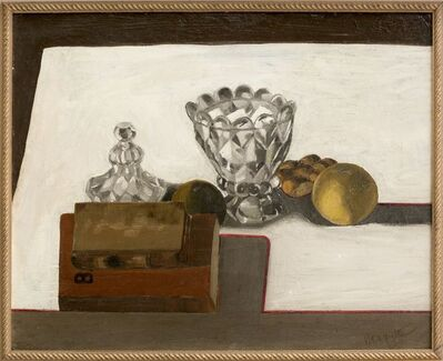 René Magritte, 'Sugar bowl with fruit and books', 1923