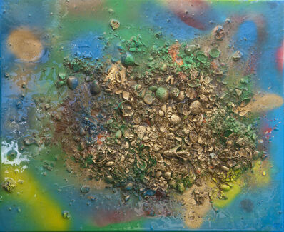 Isack Kousnsky, 'Abstract #21 Gold, Blue, Green ', 2021