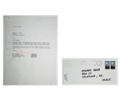 "Keith Haring, '""Keith's Original Design Letter/Envelope for the LOVE Stamp"", SIGNED, For the United States Postal Service', 1985"