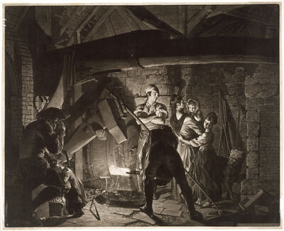 Richard Earlom, 'An Iron Forge, after Joseph Wright of Derby', 1773