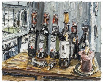Christopher Lehmpfuhl, 'Stillleben Mit Weinflaschen Und Kerze', 2020
