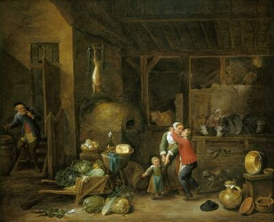 David Teniers the Younger, 'Interior of a Famhouse with Figures ('The Stolen Kiss') ', ca. 1660