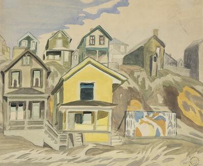Charles Ephraim Burchfield, 'Billboard and Hillside Houses', 1918