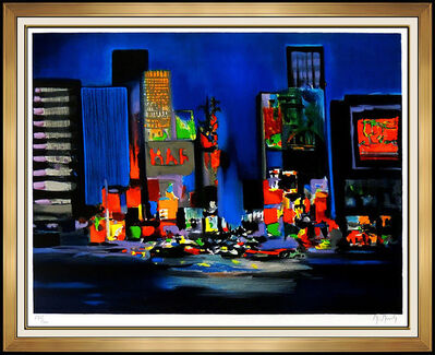 Marcel Mouly, 'Marcel Mouly Large Hand Signed Color Lithograph Times Square New York Rare Art', 20th Century