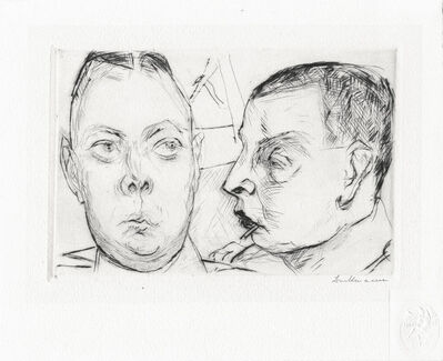 Max Beckmann, 'Two Auto Officers', 1915