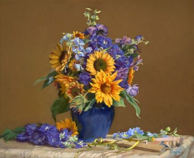 Theresa Pergal, 'Sunflowers and Delphiniums', 2020