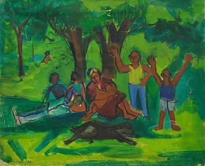 Ben Benn, 'Modernist Family Outing with Dog (Picnic in the Park)', Mid-20th Century