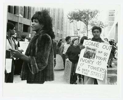 Diana Davies, 'Untitled (Marsha P. Johnson Hands Out Flyers For Support of Gay Students at N.Y.U.)', ca. 1970