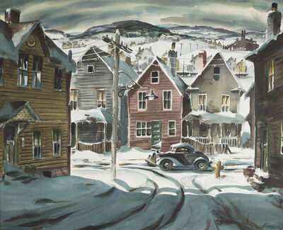 Henry Gasser, 'Winter Scene with Car', Date Unknown