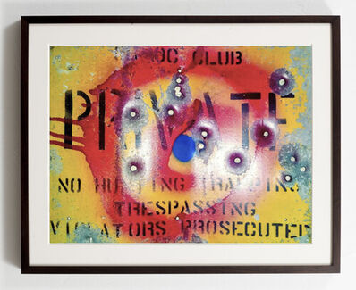 """William S. Burroughs, 'Shot and Signed Metal """"Private"""" Sign', 1986"""
