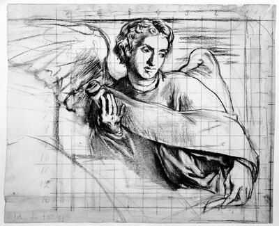 John La Farge, 'Angel with a Scroll: Cartoon for Trinity Church, Boston', ca. 1876